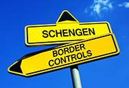 Schengen and border controls sign posts