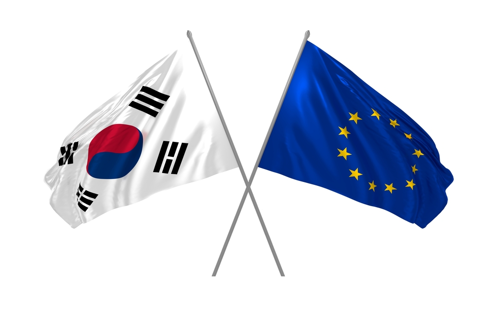 South Korean and EU flags