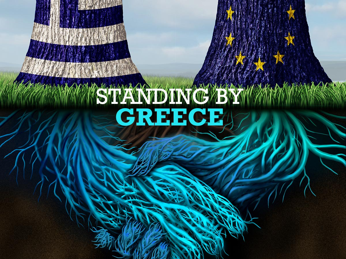 Trees like greek and EU flags with roots joining hands