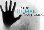 Hand over  words stop human trafficking