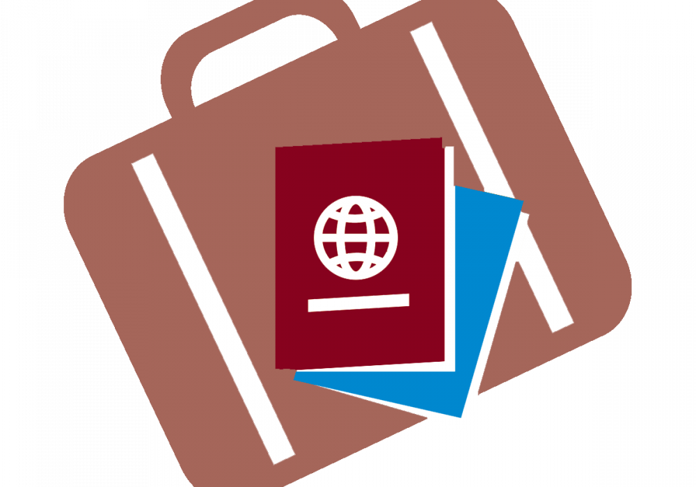 Suitcase and passeport