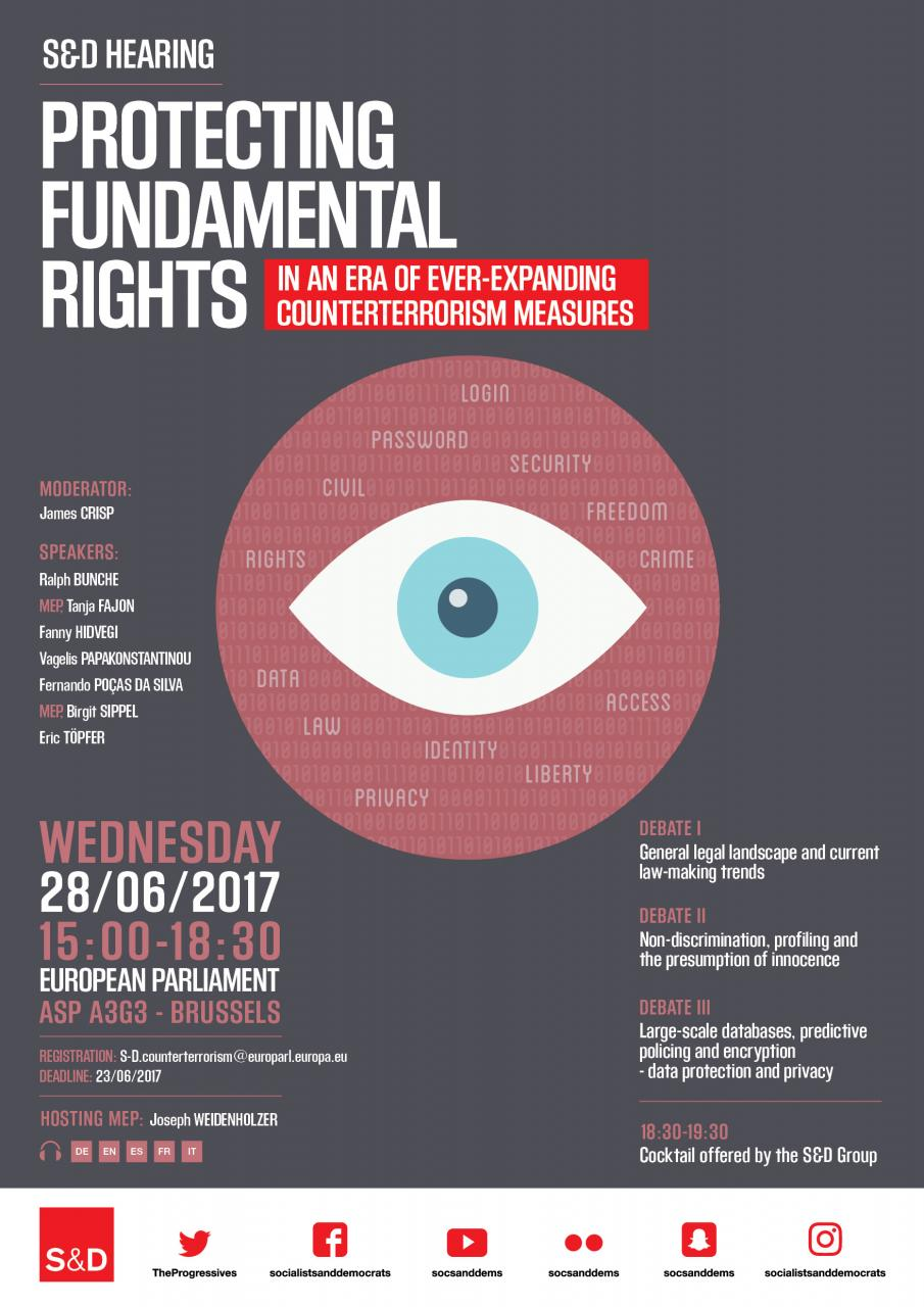 "S&D HEARING ""Protecting Fundamental rights in an Era of  ever-expanding counterterrorism measures"""