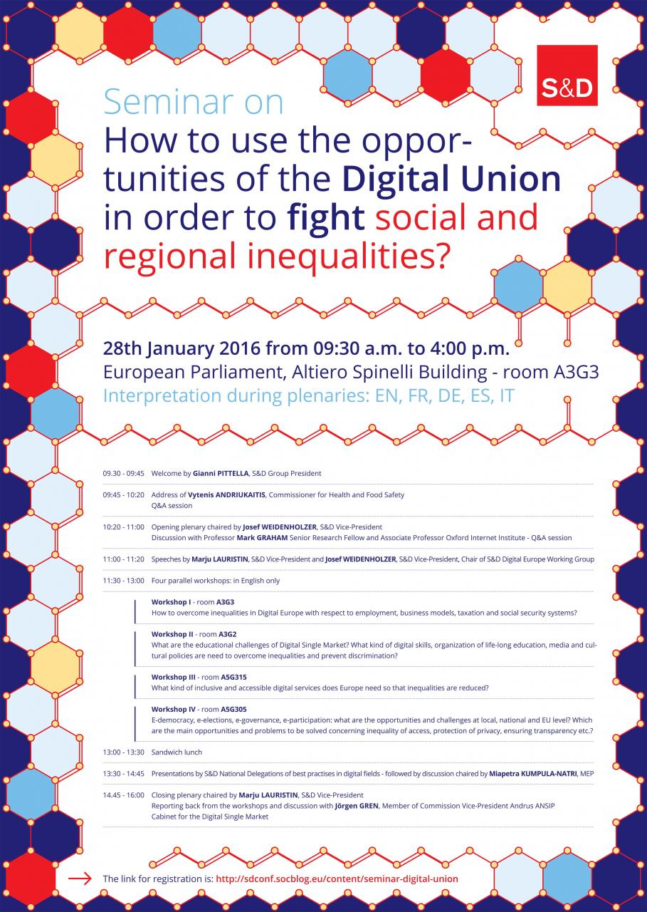 S&D Group Seminar: How to use the opportunities of the Digital Union in order to fight social and regional inequalities?
