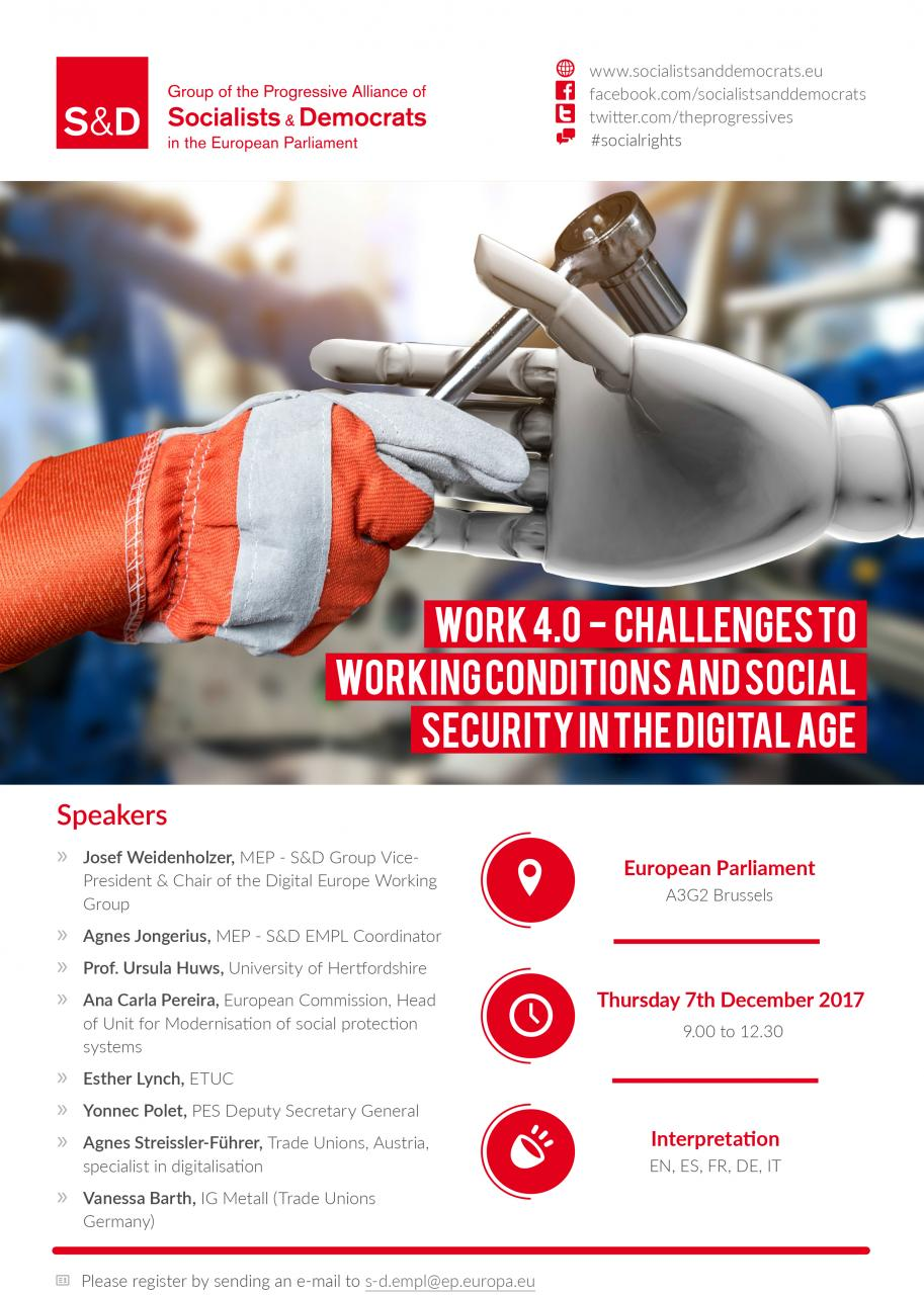 Work 4.0 – Challenges to working conditions and social security in the digital age.