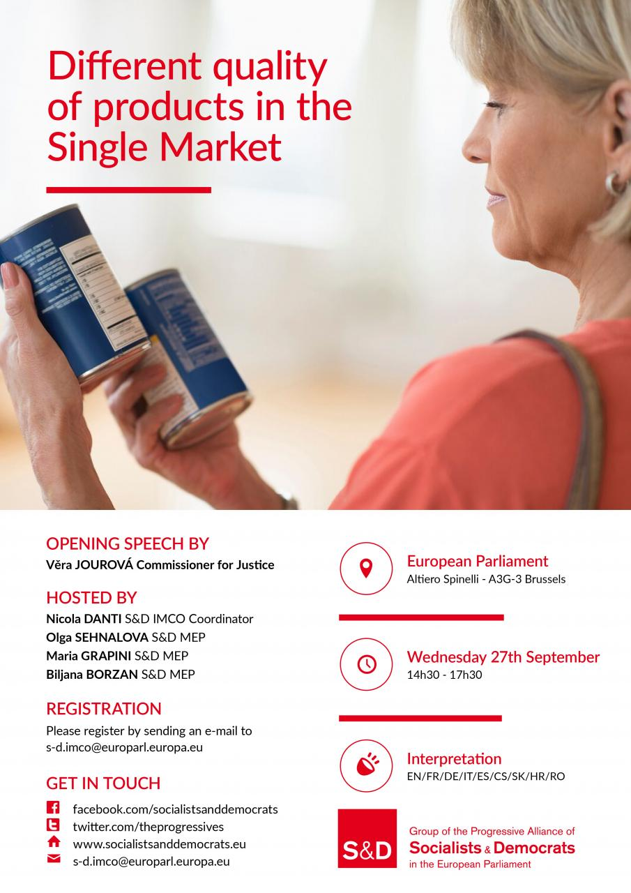 S&D Conference: Different quality of products in the Single Market