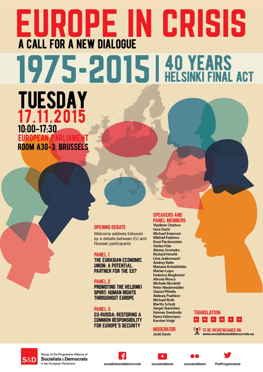 Europe in crisis: A call for a new dialogue 1975-2015: 40 years Helsinki Final Act