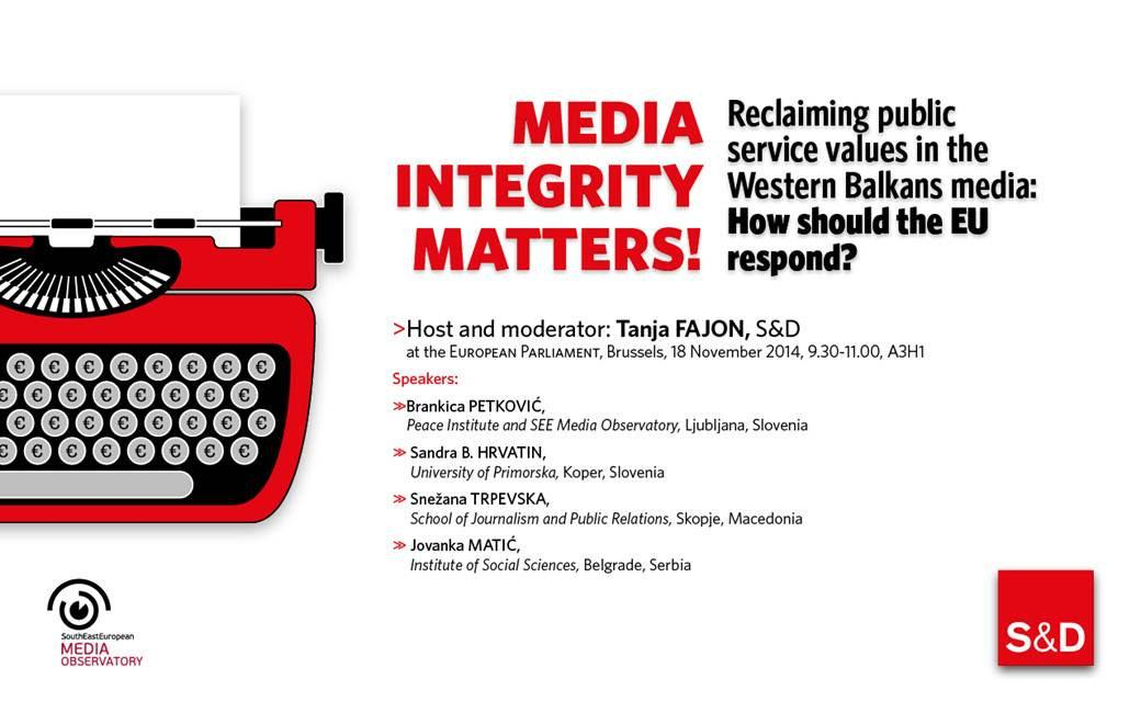 Media integrity matters! Reclaiming public service values in the Western Balkans media : How should the European Union respond?