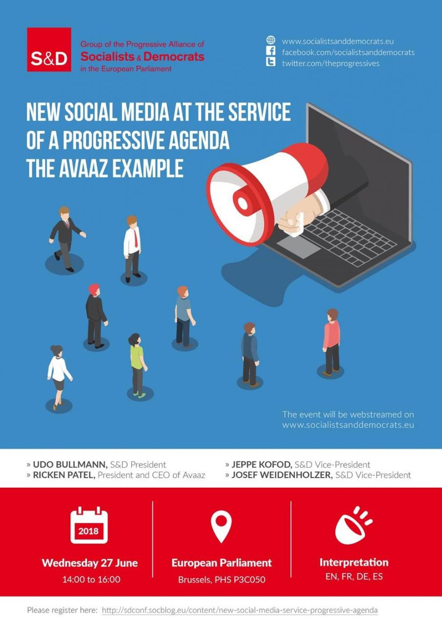 Invitation to S&D Group conference - New social media at the service of a progressive agenda - the Avaaz example.