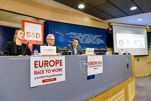 Emilie Turunen, Hannes Swoboda, Paolo Alberti, Europe back to work press conference