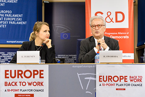 Emilie and Hannes at the press conference, Europe back to work