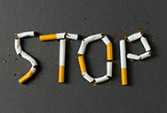 STOP written in cigarettes