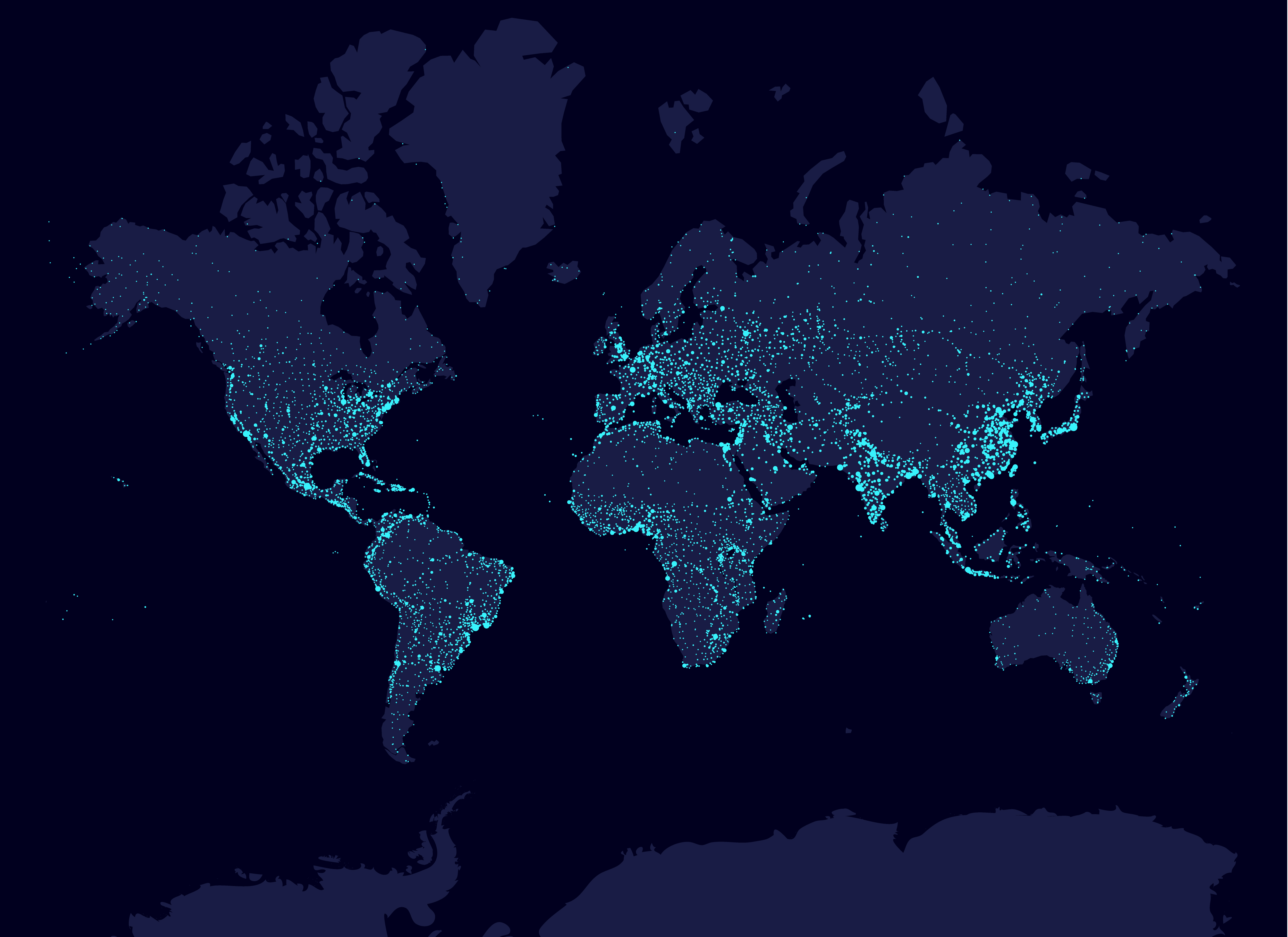 world map with lights showing population