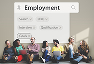 Youth sitting under employment hashtag