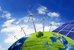 green climate - wind turbines, solar panels on green world